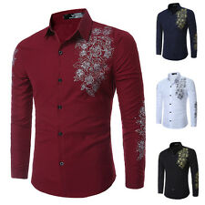 Vogue Men's Luxury Long Sleeve Shirt Casual Slim Fit Stylish Dress Shirts Tops