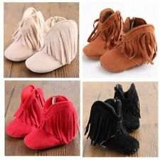 Infant Baby Boy Girl Soft Sole Crib Shoes Anti Slip Tassel Boots Prewalker 0-18M