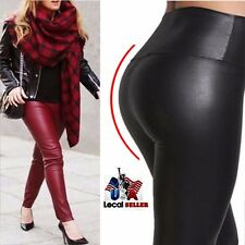 Women's High Waist Faux Leather Pants Leather Leggings Wet Look Shiny Trousers S