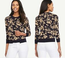 Ann Taylor Shimmer Floral 3/4 Sleeve NEW Ann Cardigan $79.50 Sweater Size: S M L