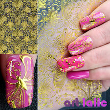 1 Sheet Embossed Flower Manicure 3D Nail Art Stickers Nail Decal Decoration