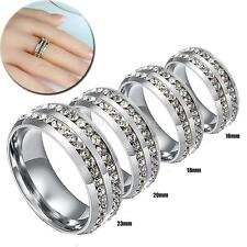 6MM Unisex 2 Row Clear Crystal CZ Inlay Stainless Steel Ring Band Wedding Rings