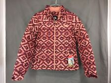 The North Face Womens Nuptse 2 Jacket Burgundy Printed Down NWT