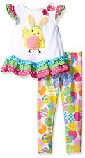 RARE EDITIONS Girls Size 2T Chick Applique Top & Legging Set Easter Egg Ruffles