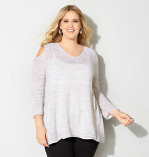 NWT Avenue $55 Beige White Textured Cold Shoulder Knit Tunic Top 18W-28W Plus