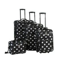 Polka Dot Luggage Set 4 Piece Expandable Black White Rockland Luggage Dots New