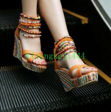 Hot Sandals Chunky Wedge Ankle Strappy Platform Womens Beaded High Heels Shoes B