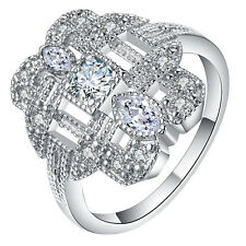 White Sapphire CZ Wedding Engagement PARTY 18kt White Gold Filled Ring Size 7-10