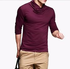 New Mens High-necked Casual T-Shirt Solid Long Sleeve Basic Tee M L XL XXL
