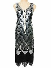 Vijiv Women's 1920s Gatsby Sequin Art Deco Scalloped Hem Inspired Flapper Dress