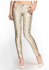 NEW WOMENS GUESS JEANS 7-ZIP STAR SKINNY METALLIC GOLD FOILED LEGGING JEANS