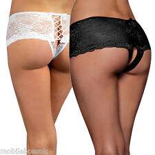 Women Underwear Briefs Panties French Sexy Crotchless Lace Knickers Lingerie UK