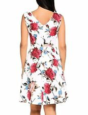 ACEVOG Women Vintage V-Neck 1950's Floral Spring Garden Party Picnic Dress