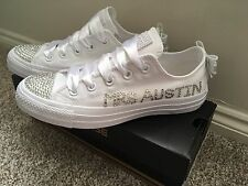 **BLING**Customised Crystal BRIDAL WEDDING NAME & DATE Mono CONVERSE Lo Tops 3-9