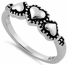 925 Sterling Silver Three Heart Triple Heart Promise Ring Love Small Large Sizes