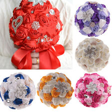 Delicate Bridal Wedding Bouquet Flower Heart Crystal Pearl Silk Rose Lace Decor