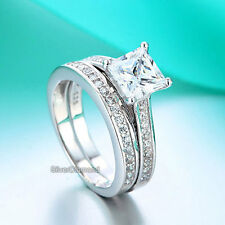 Fine 925 Sterling Silver Engagement Ring Set Princess Cut Simulated Diamond