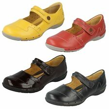 LADIES CLARKS UNSTRUCTURED LEATHER RIPTAPE MARY JANE FLAT SHOES UN HELMA