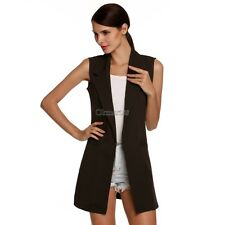Meaneor Stylish Ladies Women Casual Sleeveless Lapel Pocket Solid Vest Coat OK04
