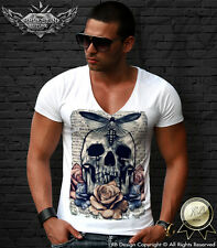 Men's Vintage Old Skull T-shirt Butterfly Tshirt Red Rose Fashion Tank Top MD485