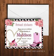 Cowgirl sweet sixteen birthday party invitation - Pink Rodeo birthday invitation