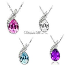 Fashion 18K GP crystal necklace pendant options 4colour OK01