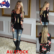 Women Floral Printed Long Sleeve Outwear Casual Jacket Spring Stylish Cardigan