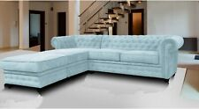 Chesterfield Corner Sofa Fabric, 3+2 Seater, Armchair- Blue Fast Delivery