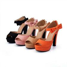 New Women's Party Pumps High Heel Platform Open Toe Ankle Strap Shoes With Bow