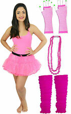 1980'S PINK SEQUIN TUTU GLOVES LEG WARMERS BEADS HEN PARTY COSTUME