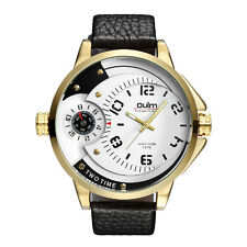Fashion OULM Military Dual Time Dial Genuine Leather Mens Quartz Wrist Watch 06