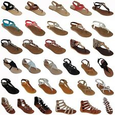 Brand New Women Sandals New Shoes Gladiator Thong Strap Flat Size Strappy Black
