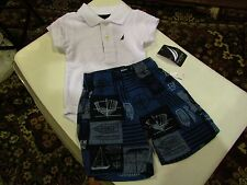 NAUTICAL BABY BOYS SHORT SET SIZE 0-3M WHITE/NAVY  NWT $42