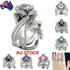 Women Charm Crystal Jewelry 925 Sterling Flower Silver Filled Wedding Party Ring