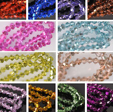 4mm Half Silver Plated Bicone Faceted Glass Loose Spacer Beads Jewelry Making