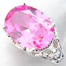 Fashion Jewelry Oval Cut Lovely Pink Topaz Gems Silver Woman Ring US size 7 8 9