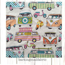 Campervan Fabric 100% Cotton Fabric Material FQ Metre 137cm Wide VW Cars Scooter