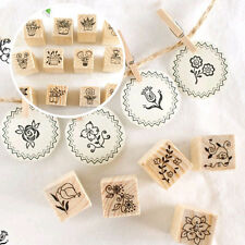Trendy Wood Decorative Stamps Set Flowers Cat 12pcs Creative Rubber Stamps Cute
