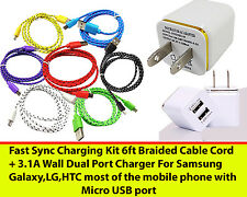 Charging / Sync Kits 6ft Cords + Dual 3.1 Wall Charger For Samsung Galaxy,LG,HTC