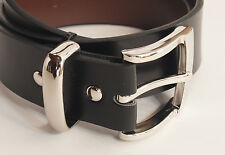 "1 3/8""-35mm Men's Black Leather Belt Nickel Color Pin Buckle Metal Loop  NEW"