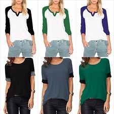 Womens Casual Round Neck Loose Fit Short Sleeve T-Shirt Blouse Tops Size S - XL