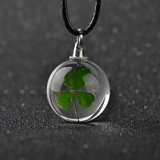 Real LUCKY Four Leaf Clover with Wish charm  glass Ball pendant Necklace