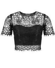 Blue Inc Woman Womens Lace Short Sleeved Polyester Crew Neck Crop Top Blouse