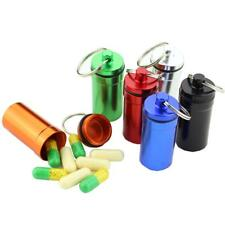 Waterproof Aluminum Pill Box Stash Case Bottle Holder Container Keychain Keyring