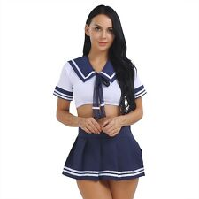 2PCS Japanese School Girl Students Sailor Lingerie Uniform Cosplay Anime Costume