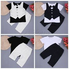 2PCS Newborn Toddler Baby Boys Outfits Striped Bowtie Clothes T-shirt Tops+Pants