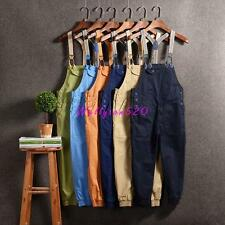 Mens Womens Cotton Casual Overalls Suspender Trousers Romper Short Pants