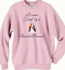 Big Dog Sweatshirt - I am Loved by a Basset Hound Men Women Adopt T Shirt # 44