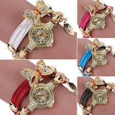 Women's Flower Butterfly Pandent Multi-Layers Bracelet Chain Wrist Watch Charm