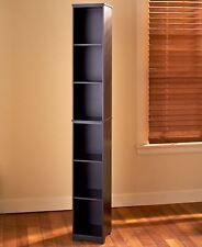 Tall Black Storage Tower Slim Space Saver Display Cubbies Shelves 5' NEW COLORS